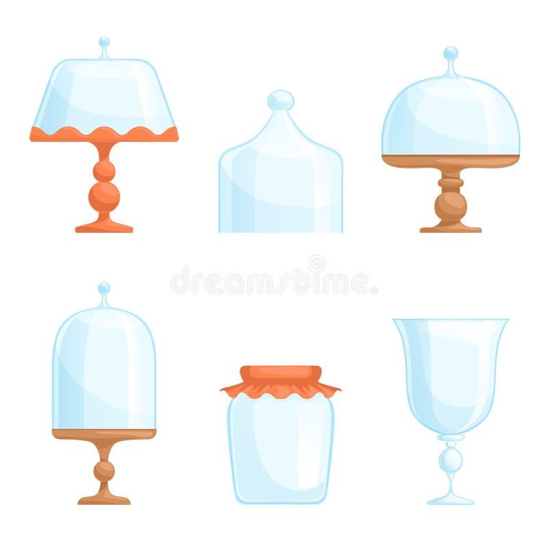 Bakelse för bunken för bakelse för kläder för kök för disk för glasföremål för räkningen för kupolen för exponeringsglaskakaställ vektor illustrationer