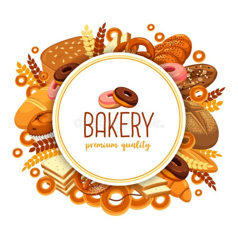 Bakelse och bagerimat för bakehouseemblem vektor illustrationer