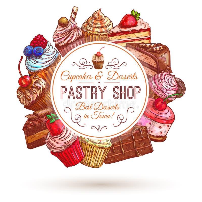 Bakelse shoppar, bakelseremblemet stock illustrationer