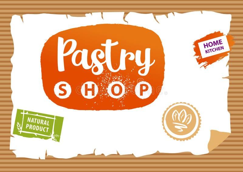 Bakelse shoppar logo Beståndsdeldesignstämpel för naturprodukt Conc royaltyfri illustrationer