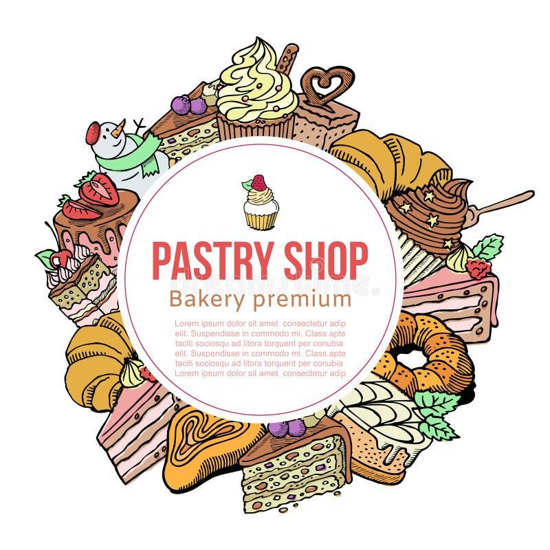 Bakelse shoppar skissar vektormallen för efterrätter, kakor och bakagods Design för vektorbakelseraffisch av muffin eller royaltyfri illustrationer