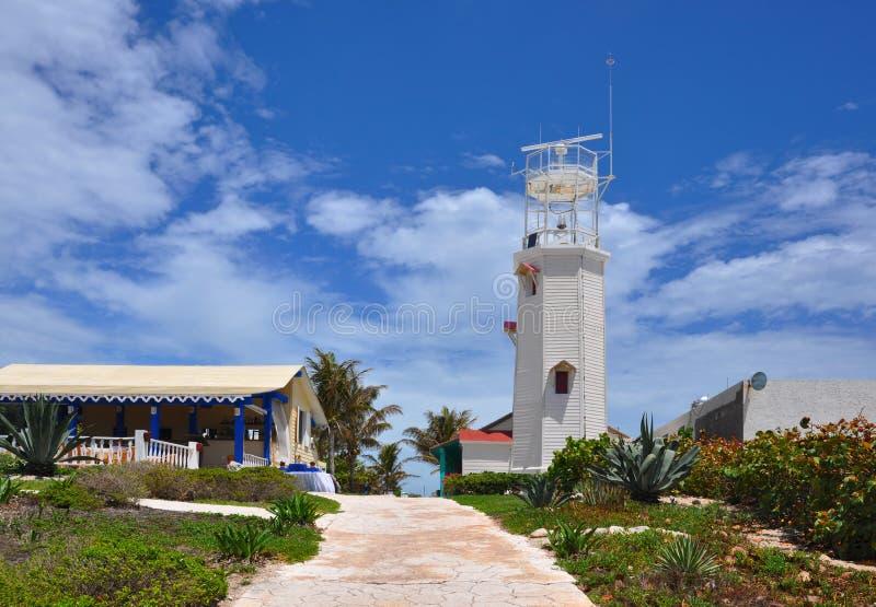 Baken in Isla Mujeres (het Eiland van Vrouwen). Mexico royalty-vrije stock afbeelding