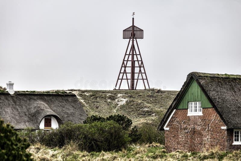 Baken in Sonderho op het eiland Fano, Denemarken stock foto's