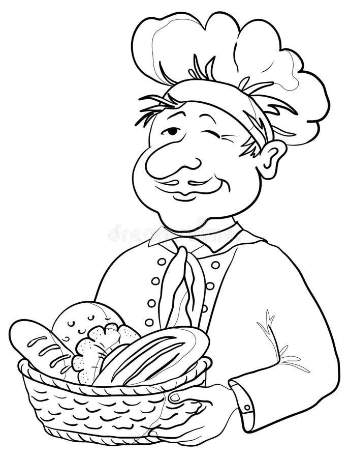 Baker avec la corbeille à pain, forme illustration de vecteur