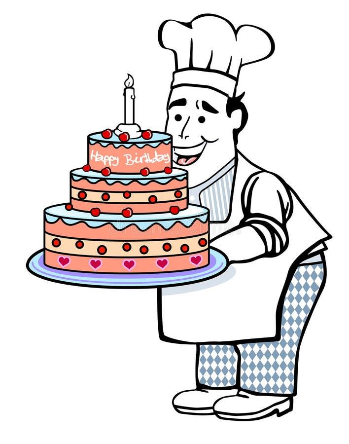 Baker avec le gâteau d'anniversaire illustration libre de droits