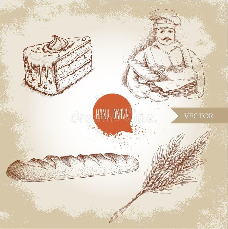 Baker avec le panier de boulanger du pain frais, de la baguette fraîche, du gâteau de crème et du groupe de blé illustration de vecteur