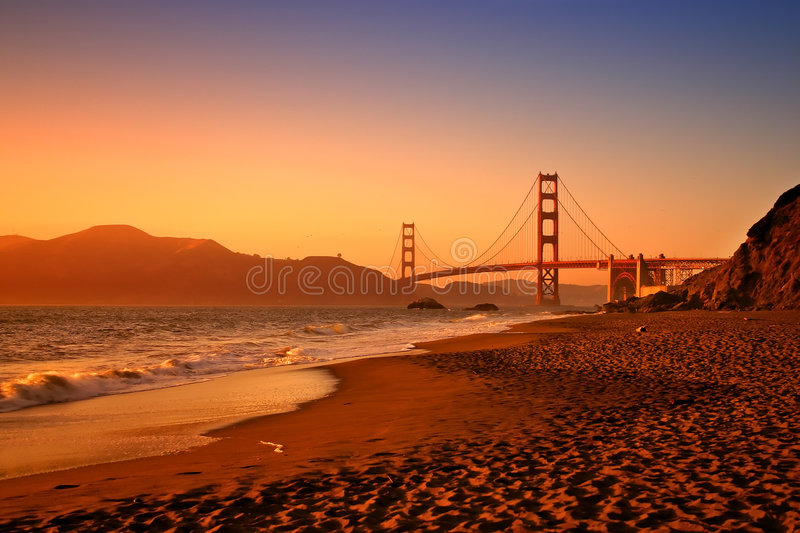 Baker Beach, San Francisco. Baker Beach is a state and national public beach on the Pacific Ocean coast, on the San Francisco peninsula royalty free stock image