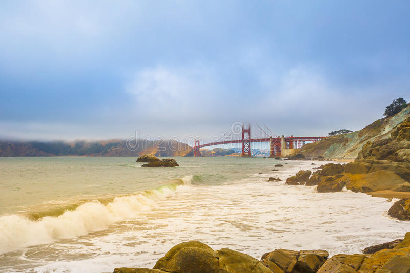 Baker Beach San Francisco. Spectacular bottom view of Golden Gate Bridge from Baker Beach, considered by many the most beautiful beach of San Francisco stock photos