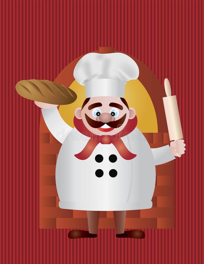 Baker with Bread and Rolling Pin Illustration royalty free illustration
