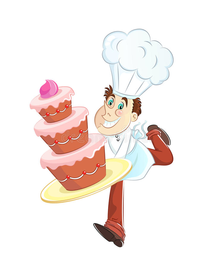 Baker with cake. Happy baker running with a big birthday cake vector illustration