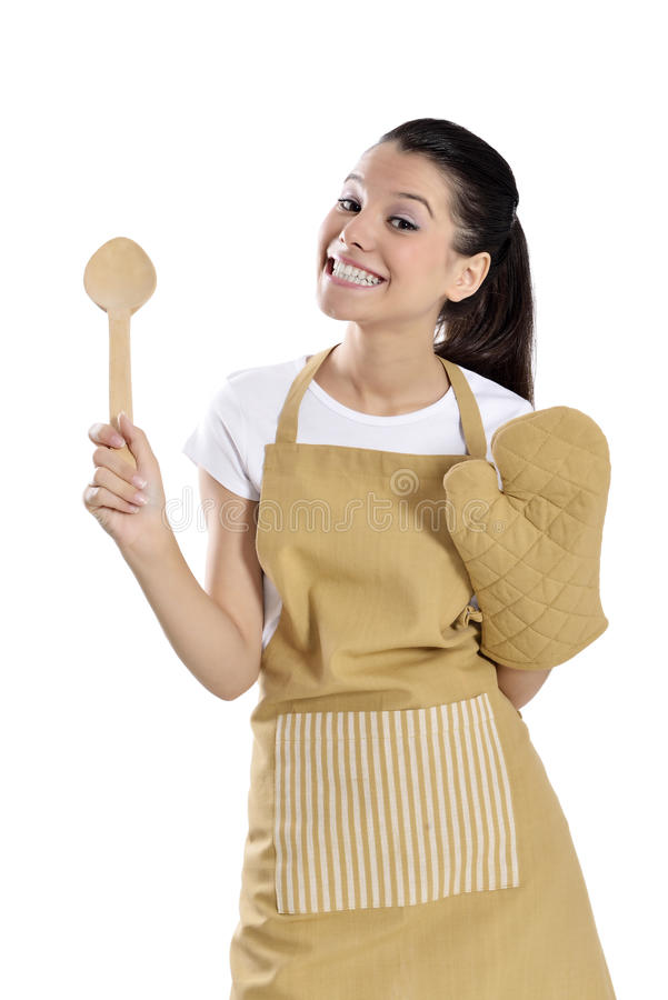 Baker / Chef woman. Angry holding baking rolling pin wearing uniform isolated on white background. Beautiful young mixed race Asian Caucasian female model royalty free stock image