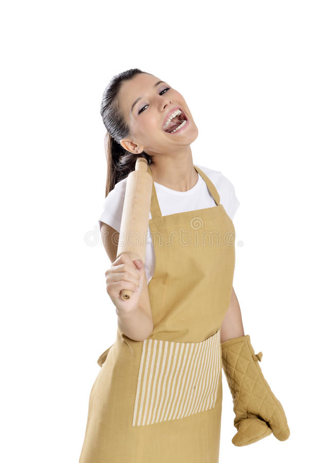 Baker / Chef woman. Smiling happy holding baking rolling pin wearing uniform isolated on white background. Beautiful young mixed race Asian Caucasian female royalty free stock photography