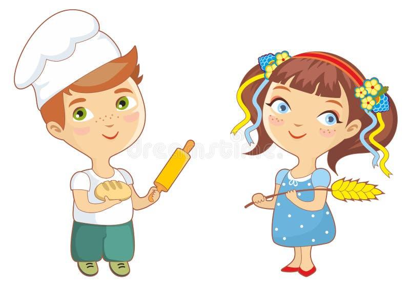 Baker Children illustration stock