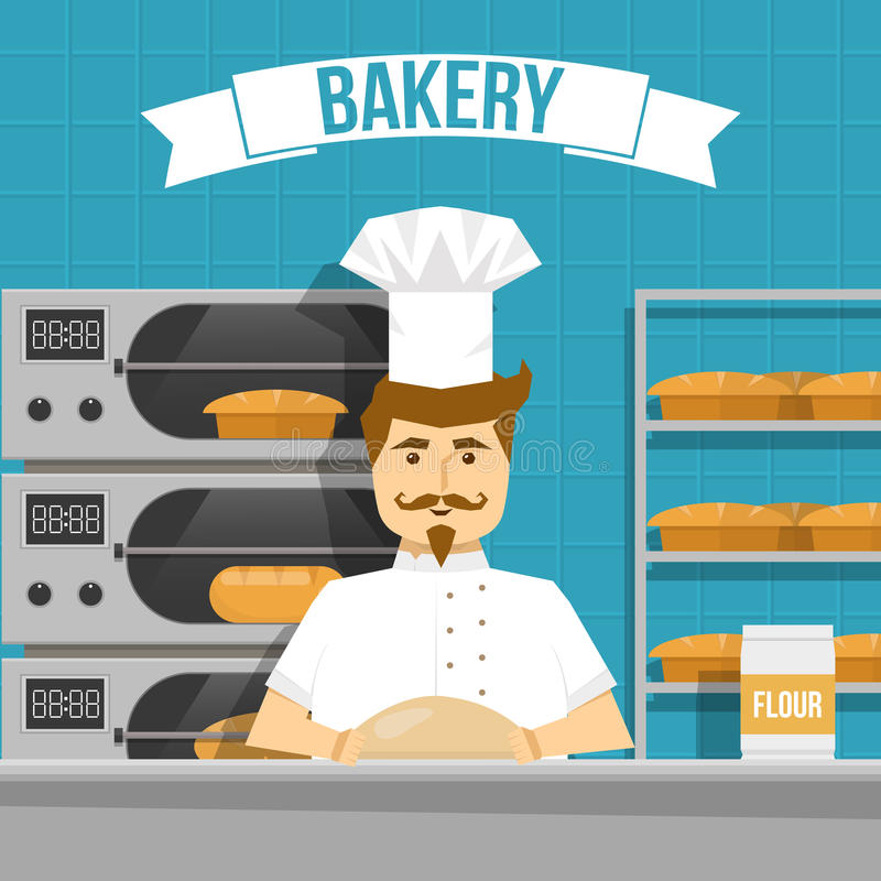 Baker Cooks Bread Design. With flour products in oven and on shelves on blue background vector illustration stock illustration