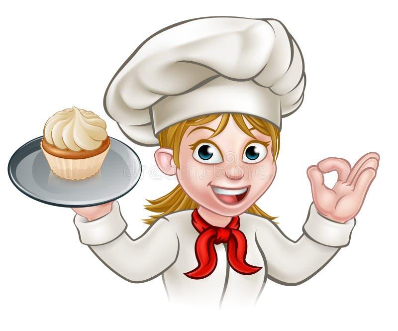Baker With Cupcake de chef de pâtisserie de femme de bande dessinée illustration de vecteur