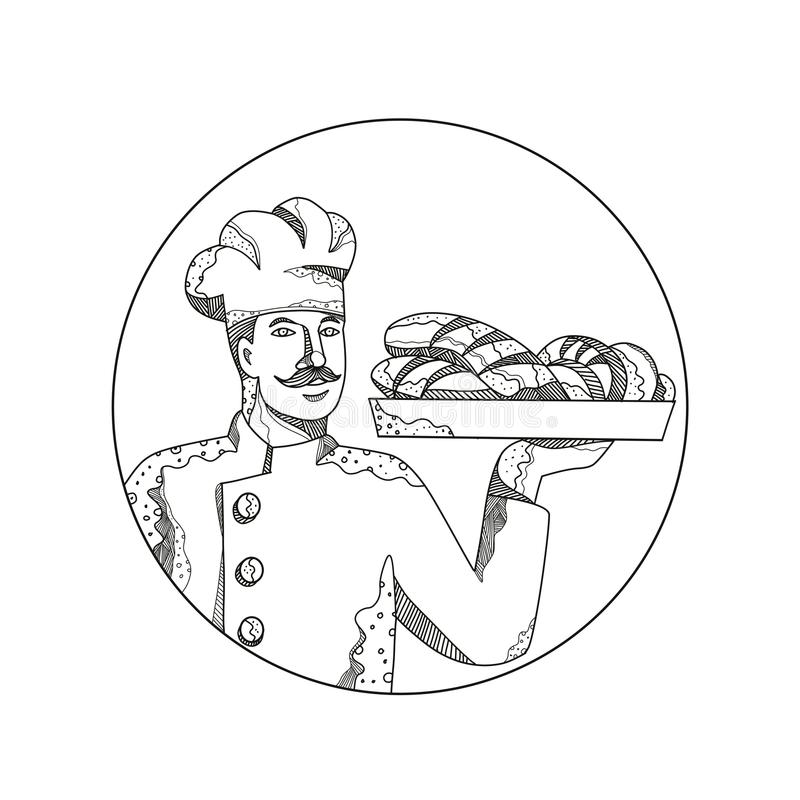 Baker Holding Bread on Plate Doodle Art stock illustration