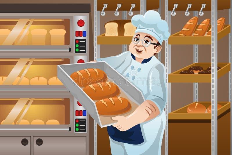 Baker Holding Breads royalty free illustration