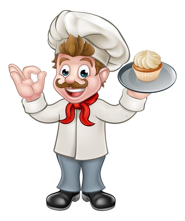 Baker Holding Cake Cartoon Mascot vector illustration