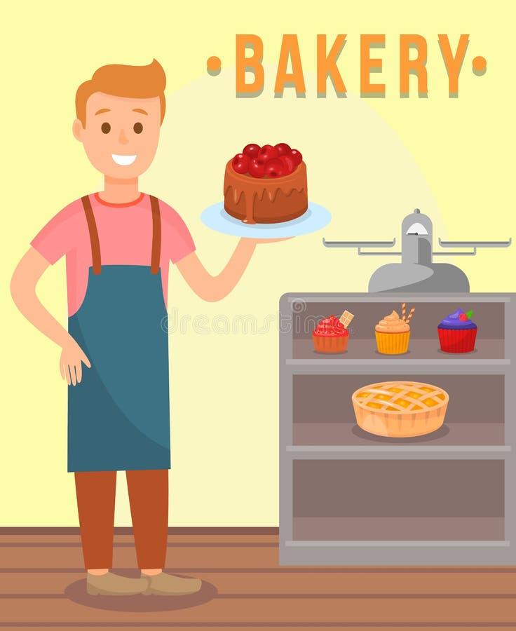 Baker Holding Chocolate Cake Beeldverhaalkarakter stock illustratie