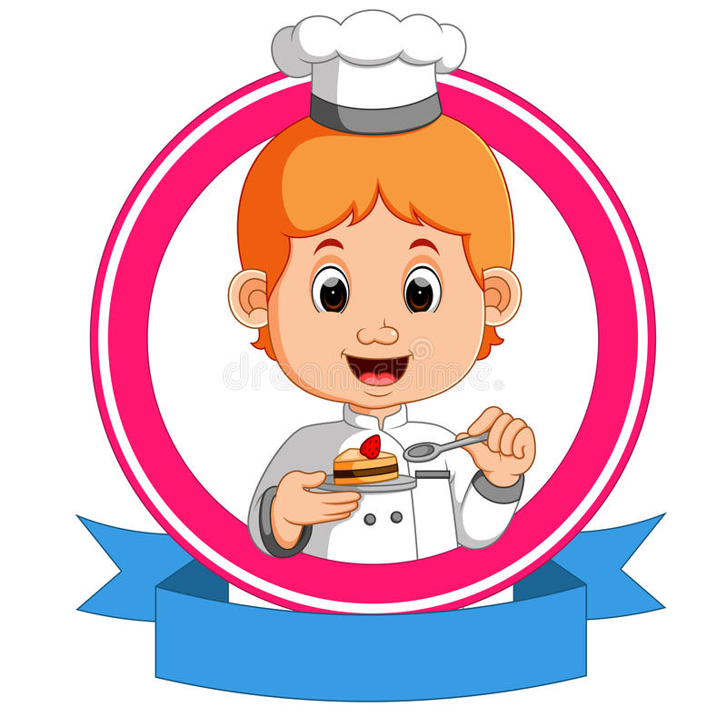 Baker holding a tray with a cupcake vector illustration