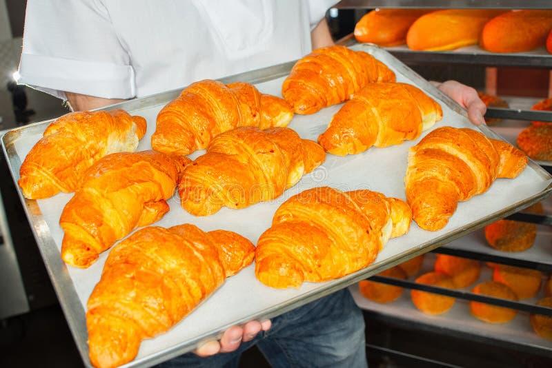 Baker holds fresh croissants in hands on sheet stock photos