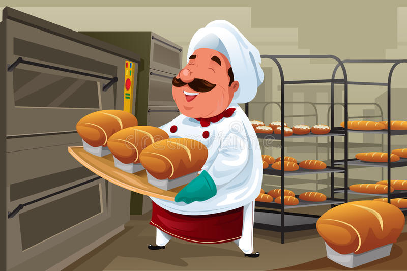 Baker in the kitchen. A vector illustration of happy baker holding breads in the kitchen
