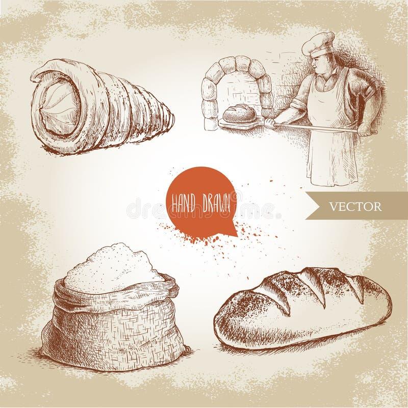 Baker making fresh bread in stone oven, cream roll, fresh baguette and flour sack. Hand drawn set bakery illustrations. Baker making fresh bread in stone oven stock illustration