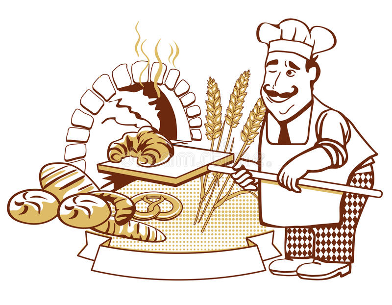 Baker at the oven stock illustration