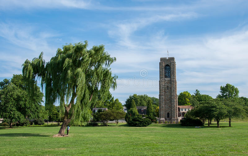 Baker Park Memorial Carillon Bell Tower - Frederick, Maryland. Weeping Willow Tree at Baker Park Memorial Carillon Bell Tower - Frederick, Maryland stock photos