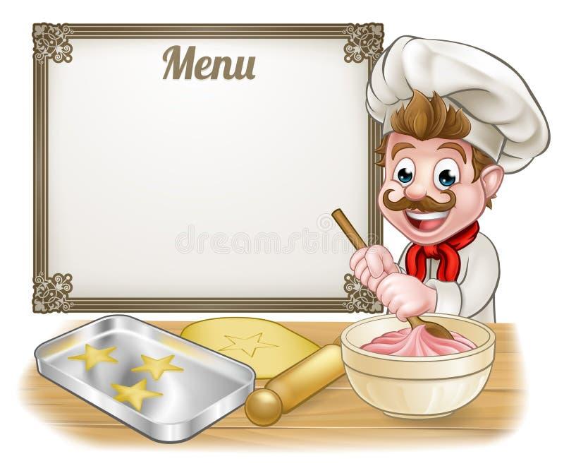 Baker or Pastry Chef Menu Sign royalty free illustration