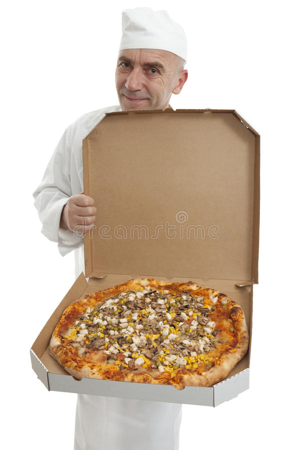 Baker of pizza stock images