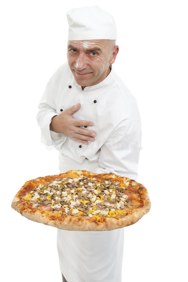Baker of pizza royalty free stock image