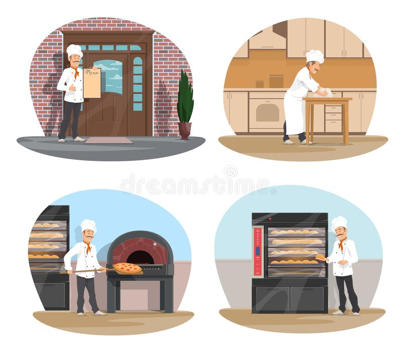 Baker, pizza and pastry chef icon of bakery design. Baker at work cartoon icon set for bakery, pizzeria and pastry shop design. Baker in white hat making bread vector illustration