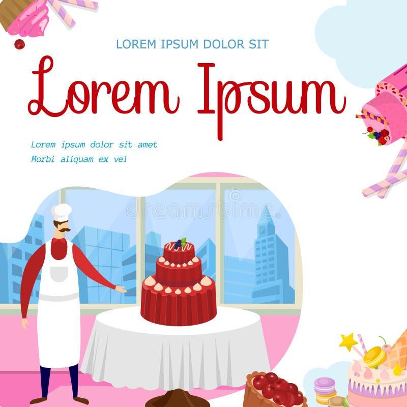 Baker Presenting Big Wedding or Birthday Cake. royalty free illustration
