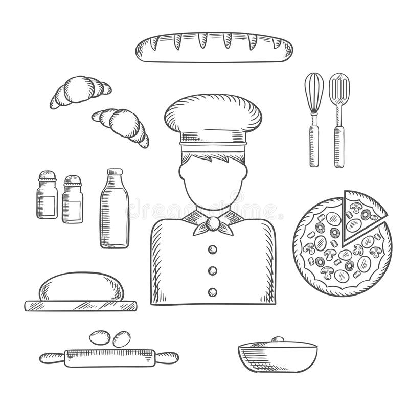 Baker profession and ingredients sketches royalty free illustration