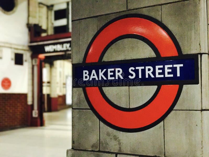 Baker Street het teken van de buispost in Londen, het UK royalty-vrije stock foto's