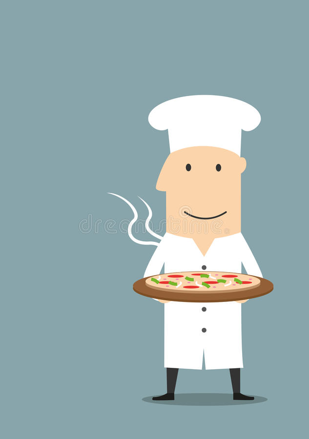 Baker in white hat with hot pepperoni pizza vector illustration