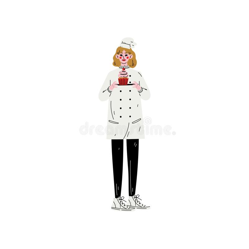 Baker Woman Character dans le plat se tenant uniforme avec l'illustration fraîchement cuite au four de vecteur de petit gâteau illustration stock