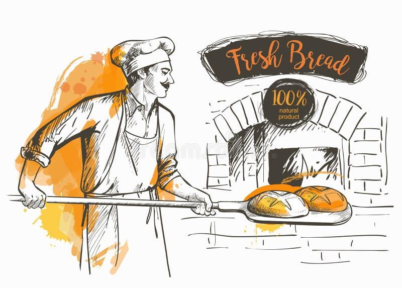 Bakerl bakade bröd stock illustrationer