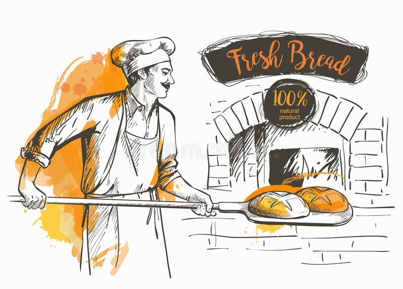 Bakerl gebakken brood stock illustratie