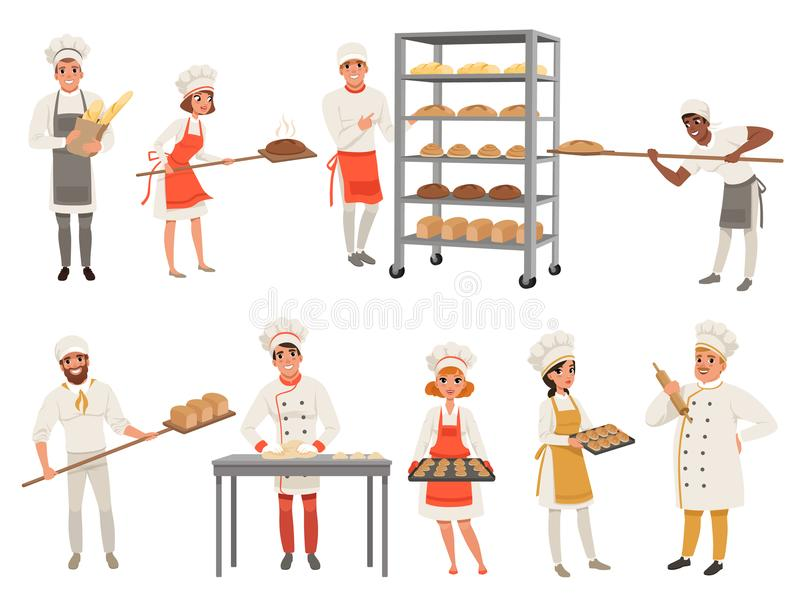 Bakers characters set with bread and cooking tools. Happy people in aprons and hats, young men and women in uniform. Smiling bakers characters at work set with vector illustration