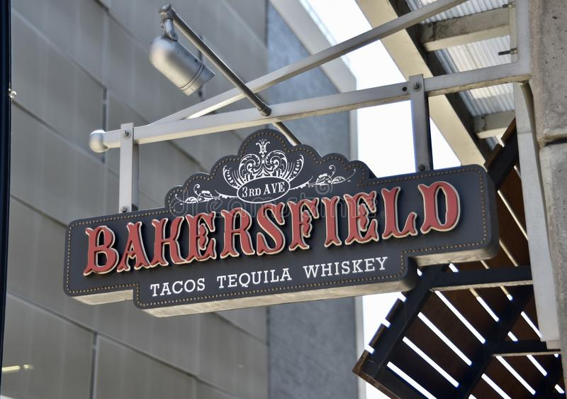 Bakersfield tacoTequila och whisky, Nashville, TN arkivfoto