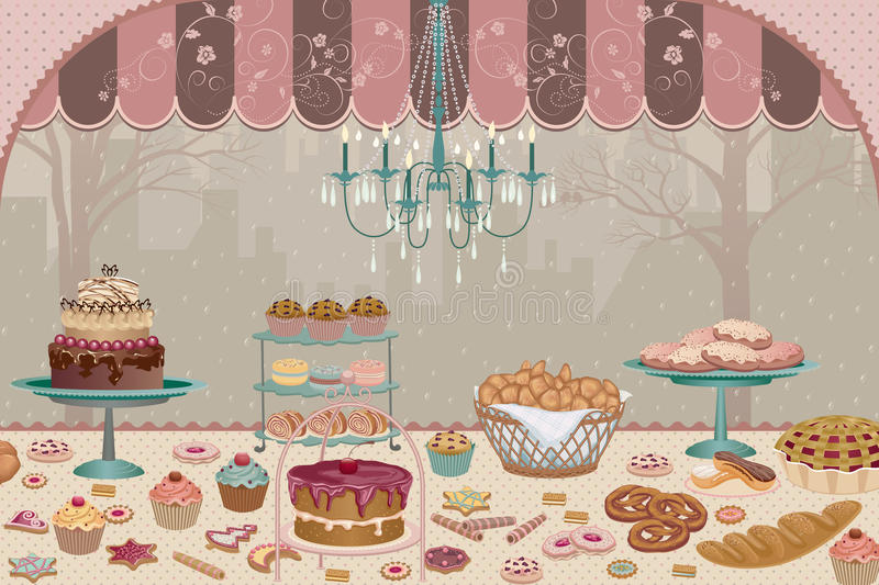 Bakery. Showcase pastry shop inside with a variety of cakes, pies, cookies and cupcakes in retro style - vector illustration
