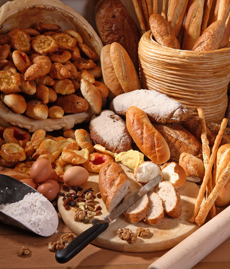 Bakery. Pies, baked bread and pastries