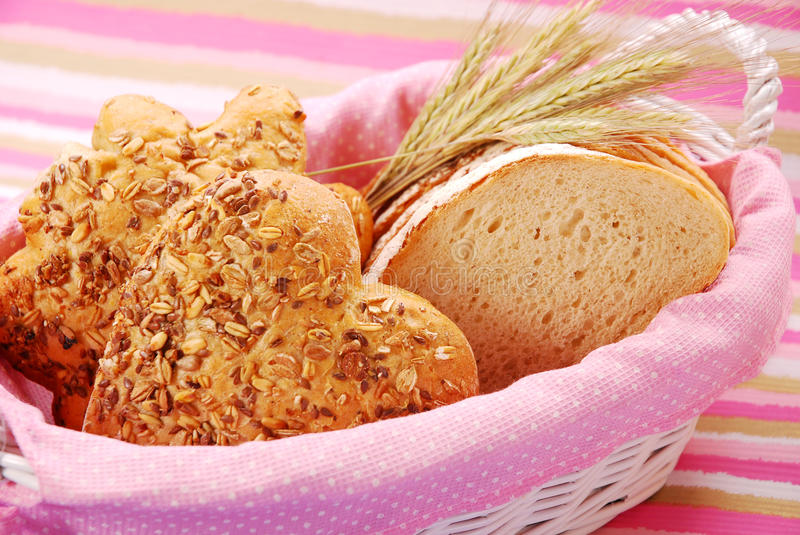 Bakery assortment in basket royalty free stock images