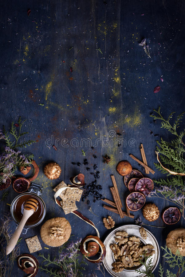 Bakery background, fresh pastry with ingredients on a blue wooden table. Oriental mood. Top view. stock images