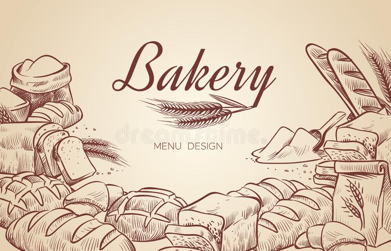 Bakery background. Hand drawn cooking bread bakery bagel breads pastry bake baking culinary vector menu design. Poster royalty free illustration