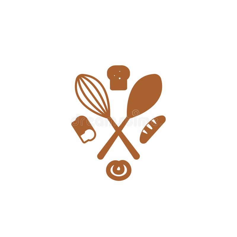 Creative Flat Bread Bakery Icon Design . Simple Sign Or