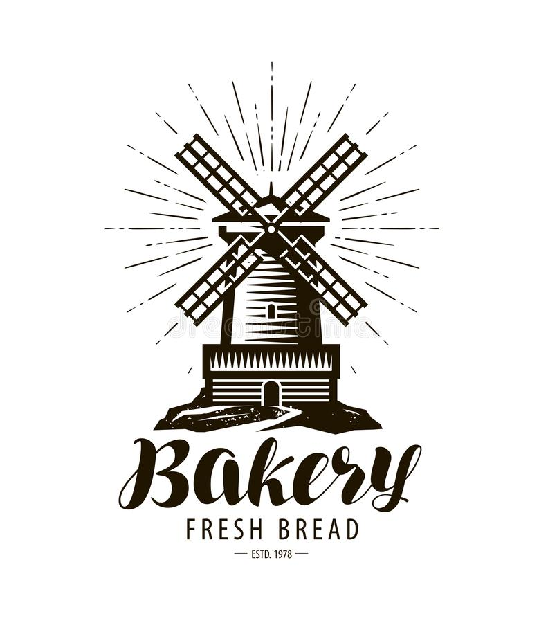 Bakery, bakehouse logo or label. Windmill, mill symbol, vector vector illustration