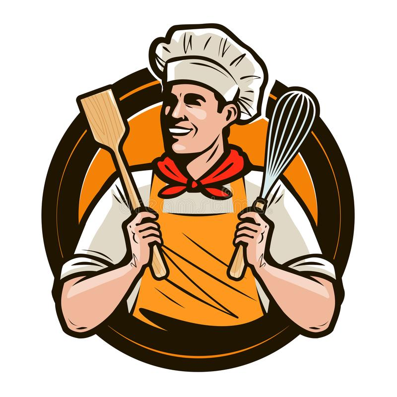 Bakery, bakeshop logo or label. Happy cook holds a shovel and a whisk in hands. Vector illustration royalty free illustration